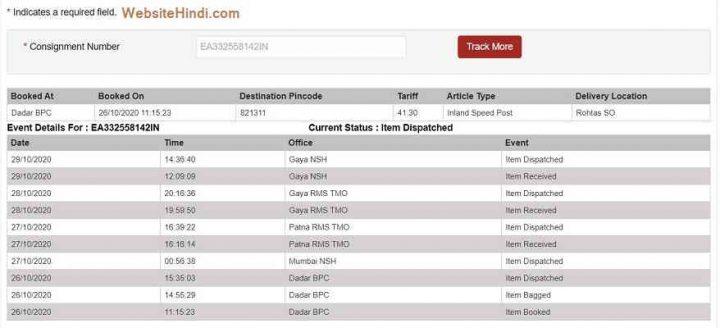 India Post Tracking website hindi