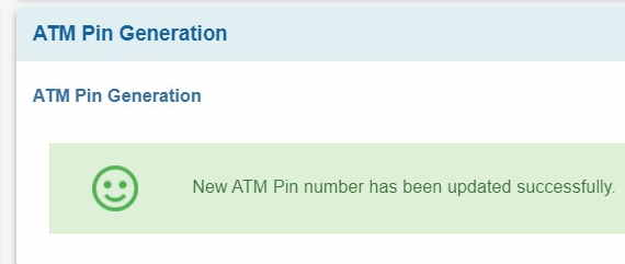 new atm pin number has been successfully