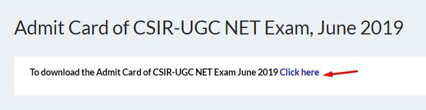 Csir Ugc Net hall ticket 2019