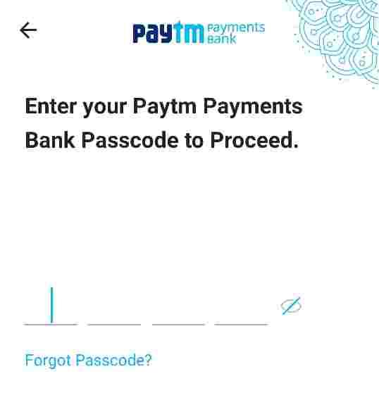 paytm account create pass code