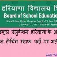 आरोही स्कूल टीचिंग स्टाफ Aarohi School Teaching Staff पदों पर हरियाणा एजुकेशन बोर्ड में भर्ती