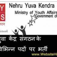 नेहरु युवा केंद्र संगठन (Nehru Yuva Kendra Sangathan) के अंतर्गत विभिन्न पदों  पर भर्ती