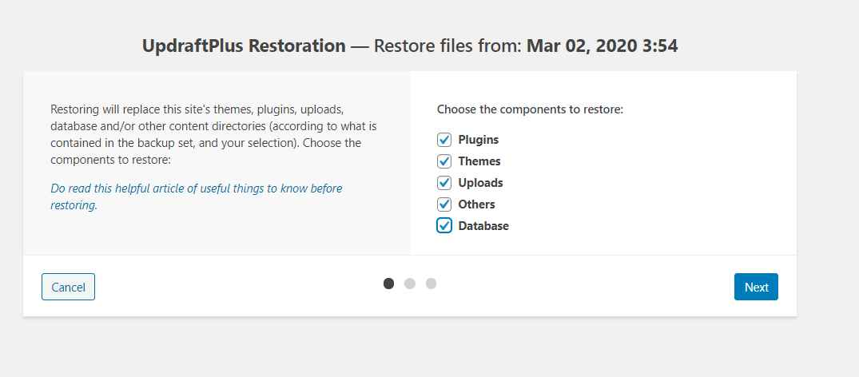 restore complete wordpress backup