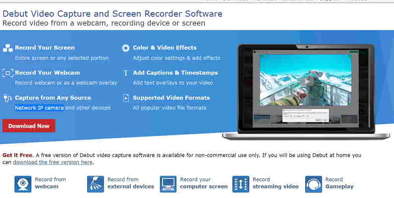 5.)Debut Video Capture and Screen Recorder Software