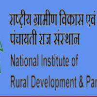 राष्ट्रीय ग्रामीण विकास संस्थान और पंचायती राज (NIRDPR) में विभिन्न पद के लिए भर्ती 2020