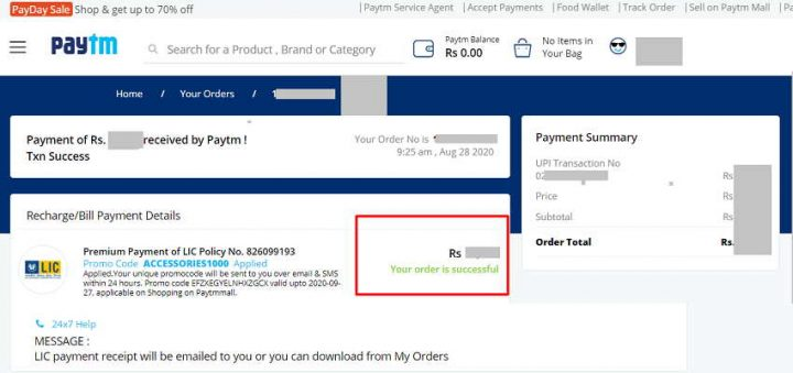 lic online payment paytm promo code