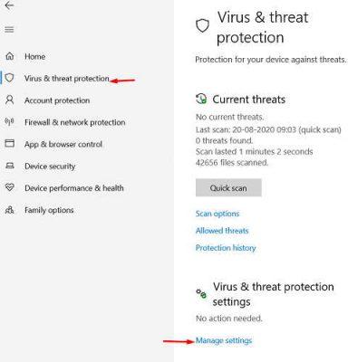 manage setting for anti virus