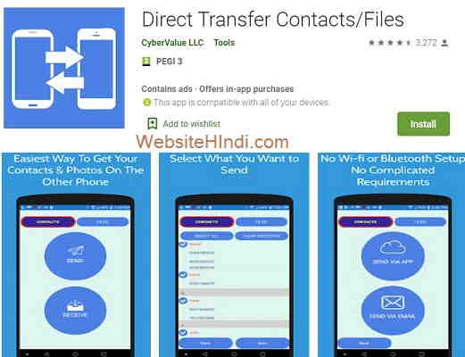 Direct Transfer Contacts Files
