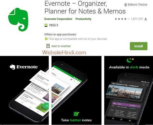 Evernote Organizer Planner for Notes Memos