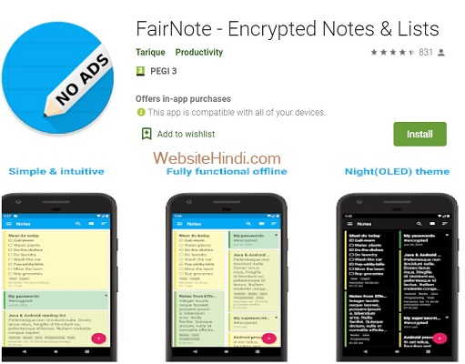 FairNote - Encrypted Notes & Lists website hindi