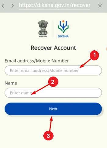 diksha-app-Recover-Account